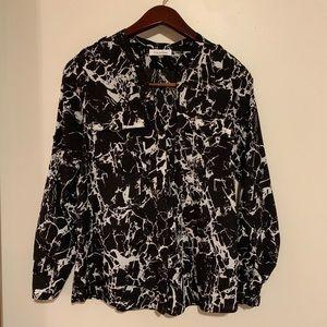 Calvin Klein Long Sleeve Blouse Black & White S